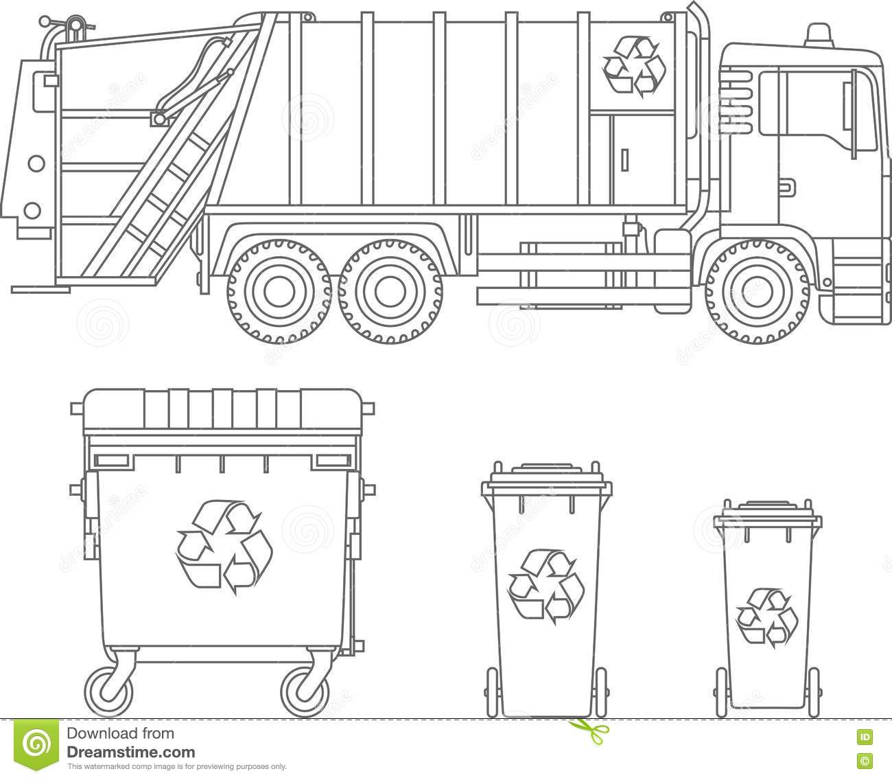 Coloring Pages. Set Of Garbage Truck And Different Types
