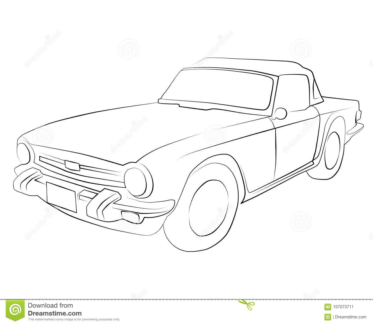 Coloring Pages To Print Car Triumph_TR6 Stock Illustration