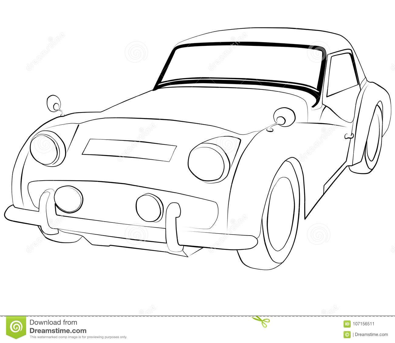 Coloring Pages To Print Car Triumph_TR3 Stock Illustration