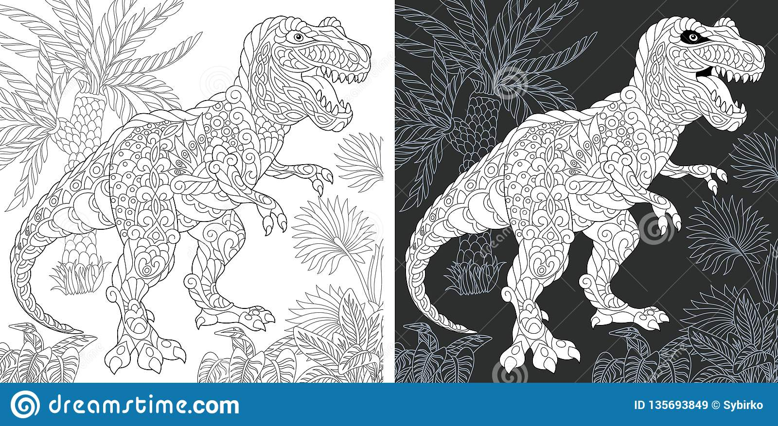Coloring Pages With Tyrannosaurus Rex Stock Vector