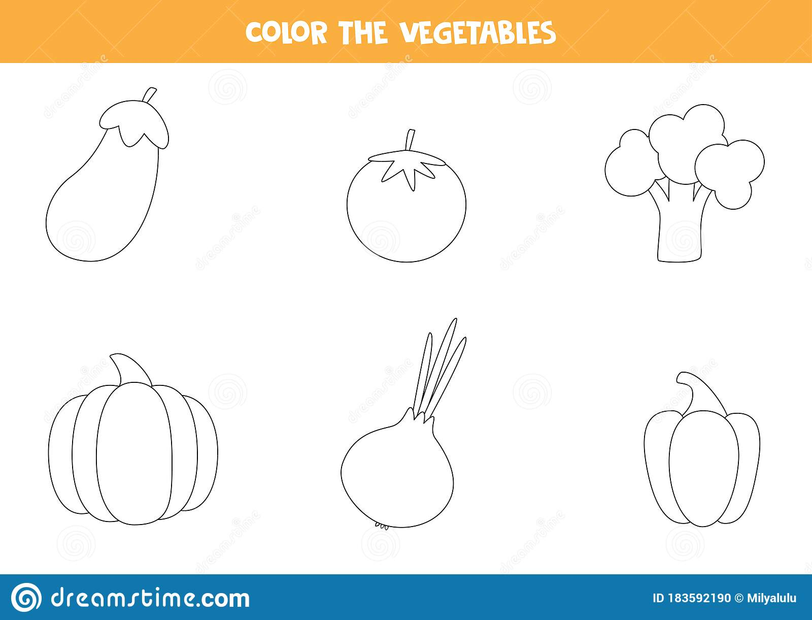 Coloring Pages With Vegetables For Preschool Kids Stock