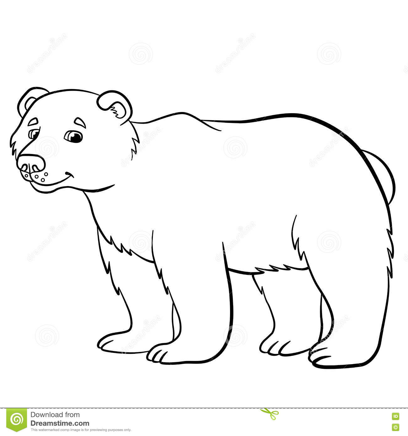 Coloring Pages Wild Animals Cute Bear Smiles Stock
