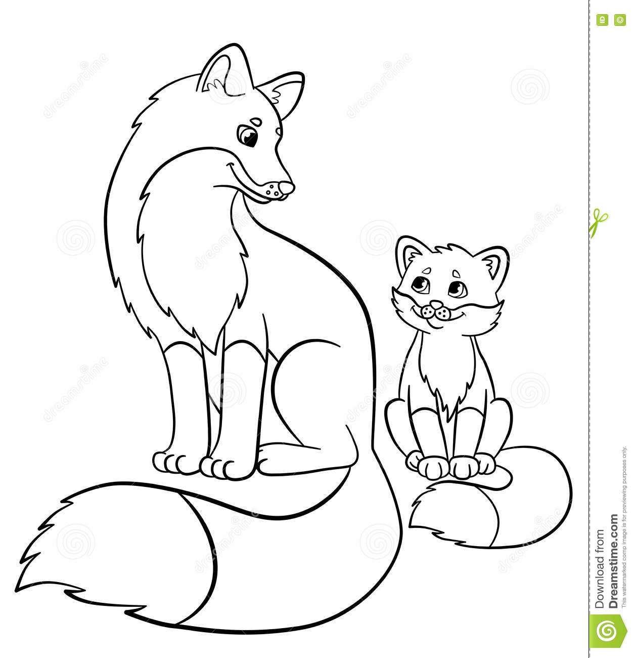 Coloring Pages Wild Animals Mother Fox With Her Little Cute Baby Stock Vector