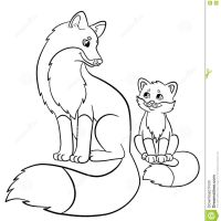 Coloring Pages Wild Animals Mother Fox With Her Little Cute Baby Desktop And Of Jesus Computer Hd Pics Stock Illustration Sits Image