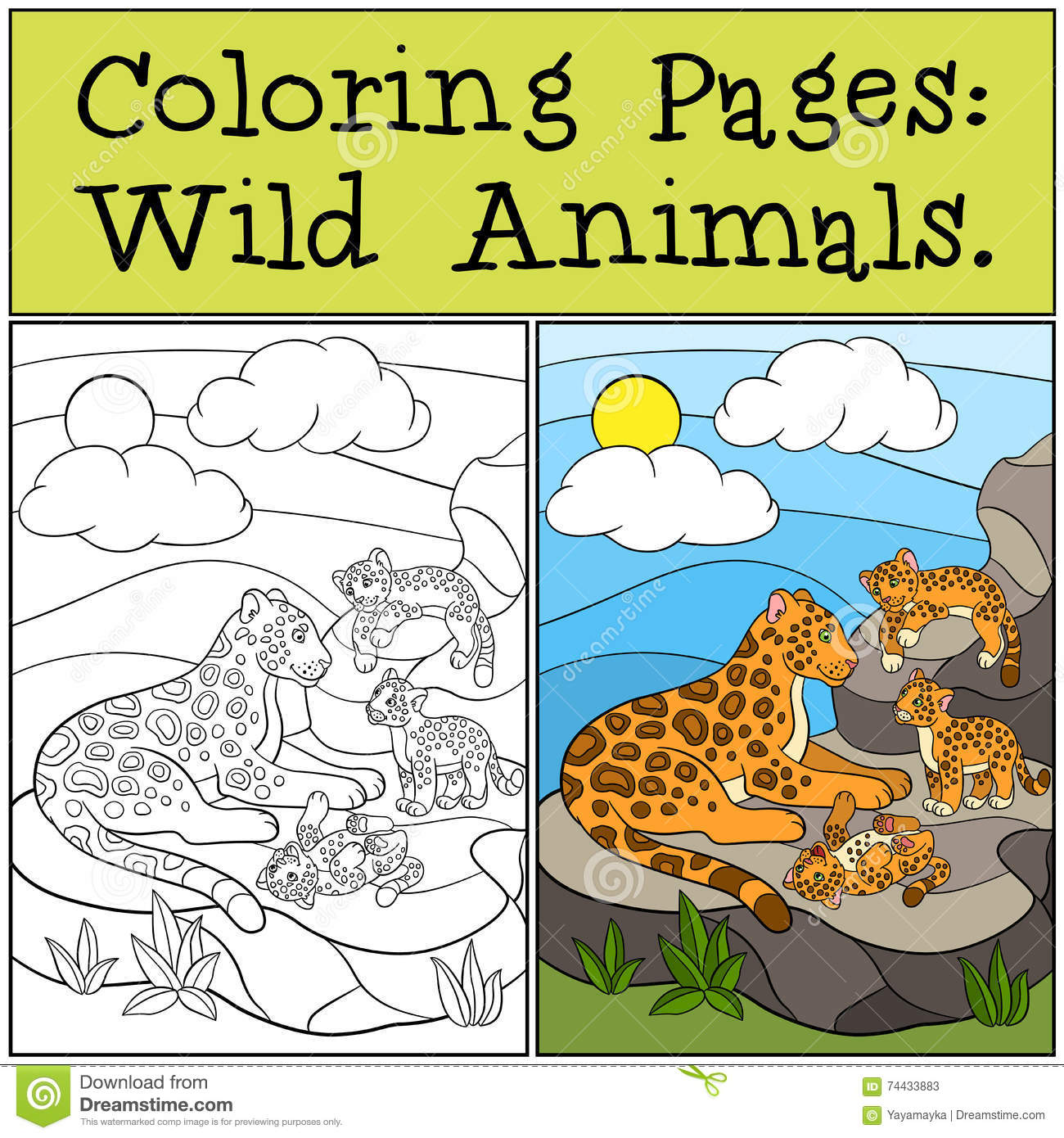 Coloring Pages Wild Animals Mother Jaguar With Her Cubs