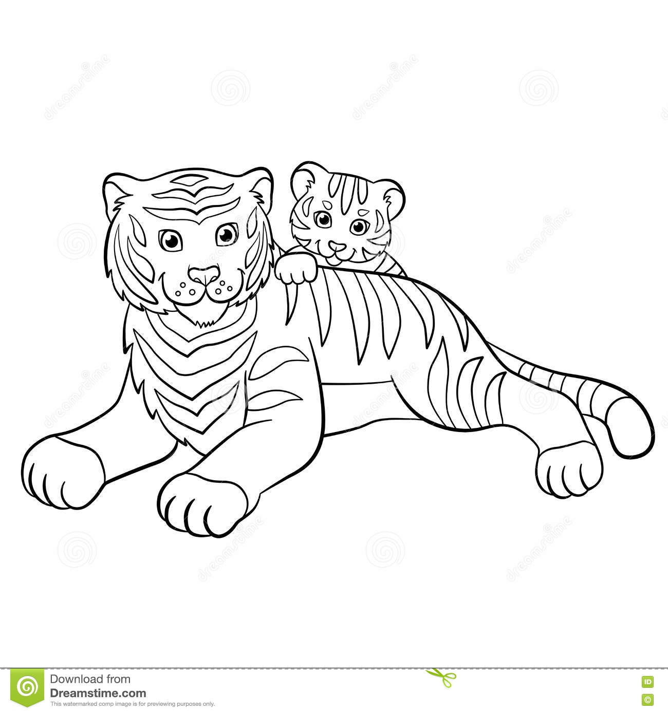 Coloring Pages Animals Little Cute Tiger Vector Illustration