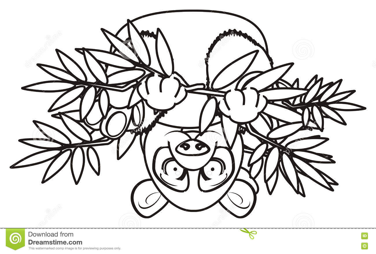 A Panda Smiling For Coloring Royalty Free Illustration