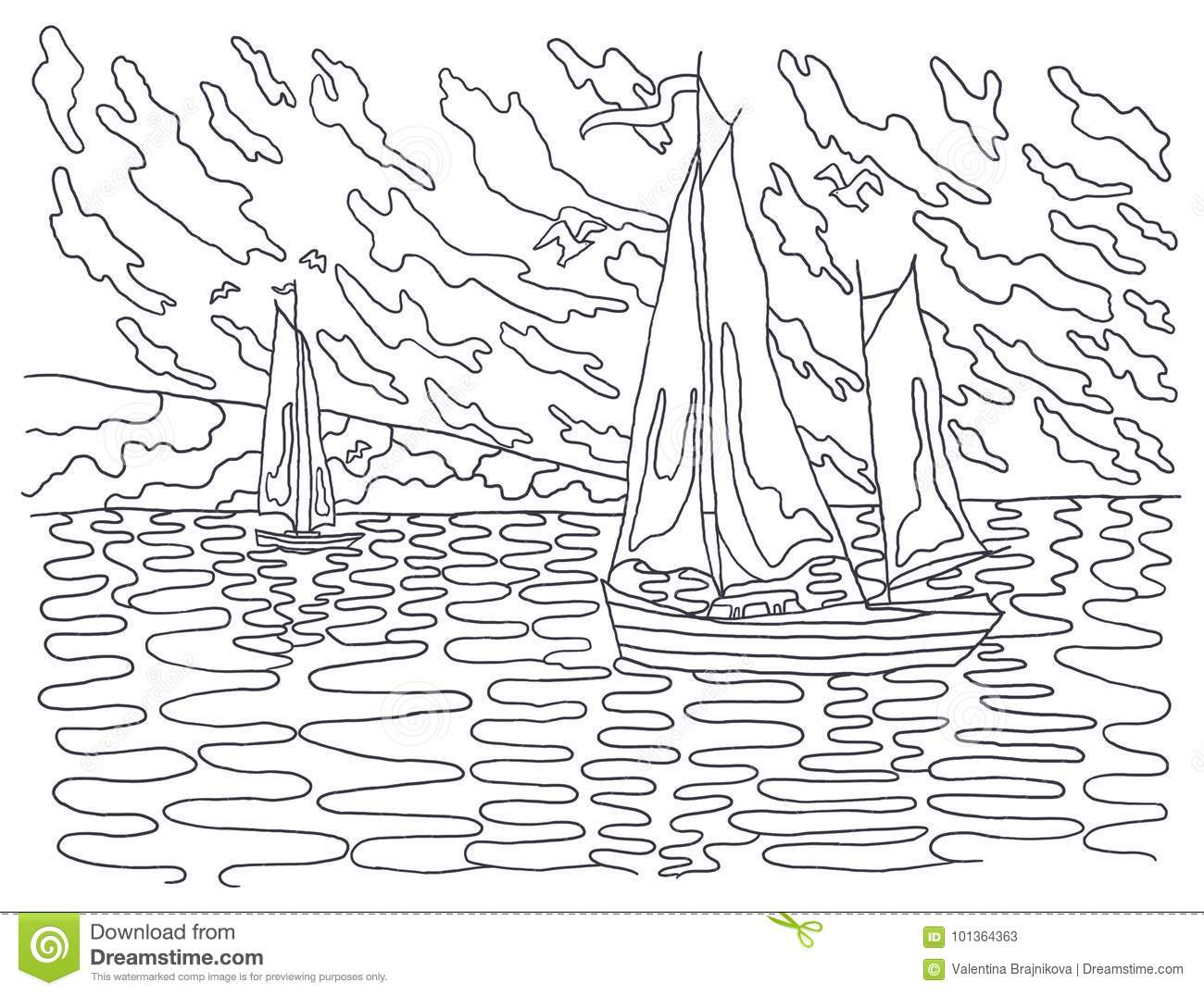 Template For Coloring. Landscape Painting. Stock
