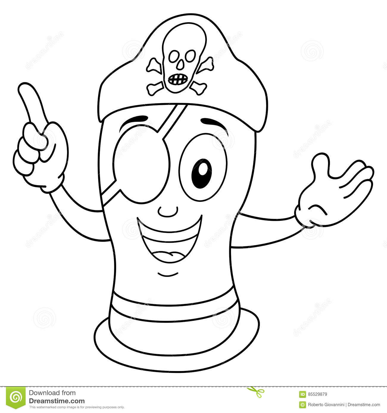 Coloring Condom Thumbs Up Character Vector Illustration
