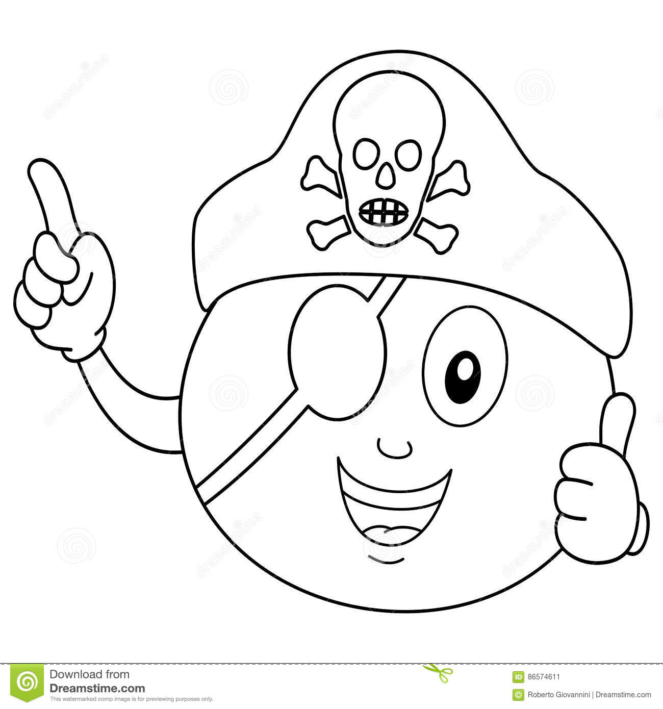 Coloring Pirate Orange With Eye Patch & Hat Stock Vector