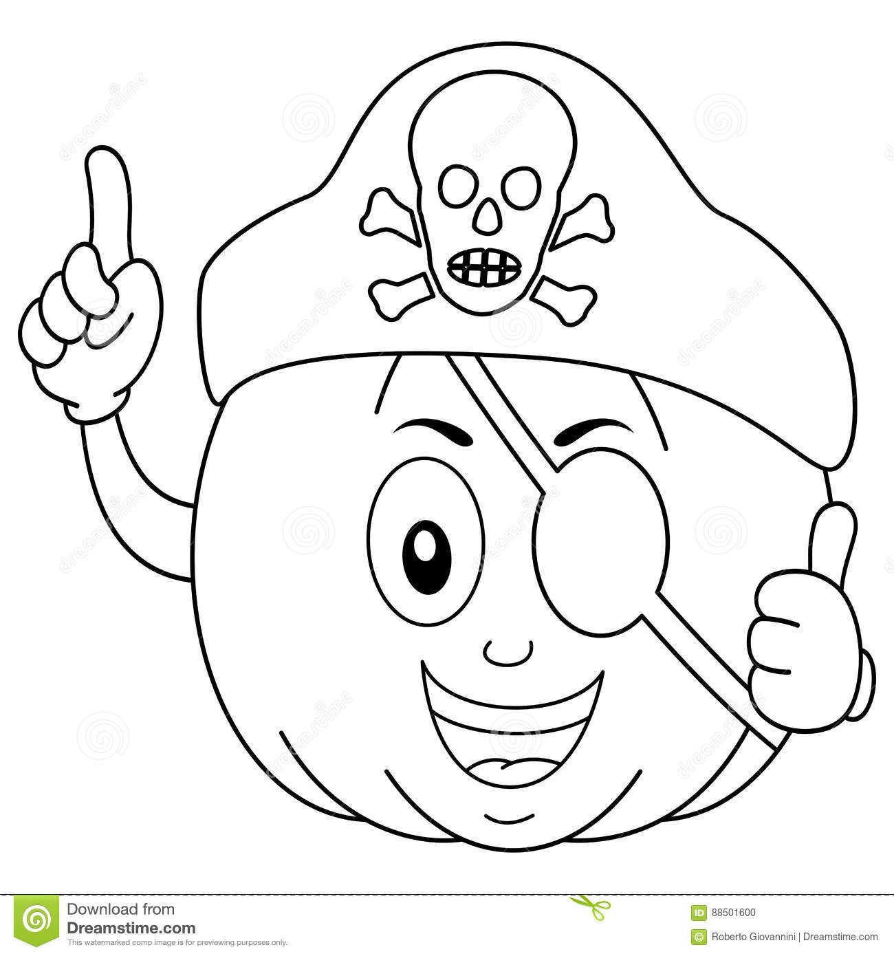Coloring Pirate Pumpkin With Eye Patch Hat Stock Vector