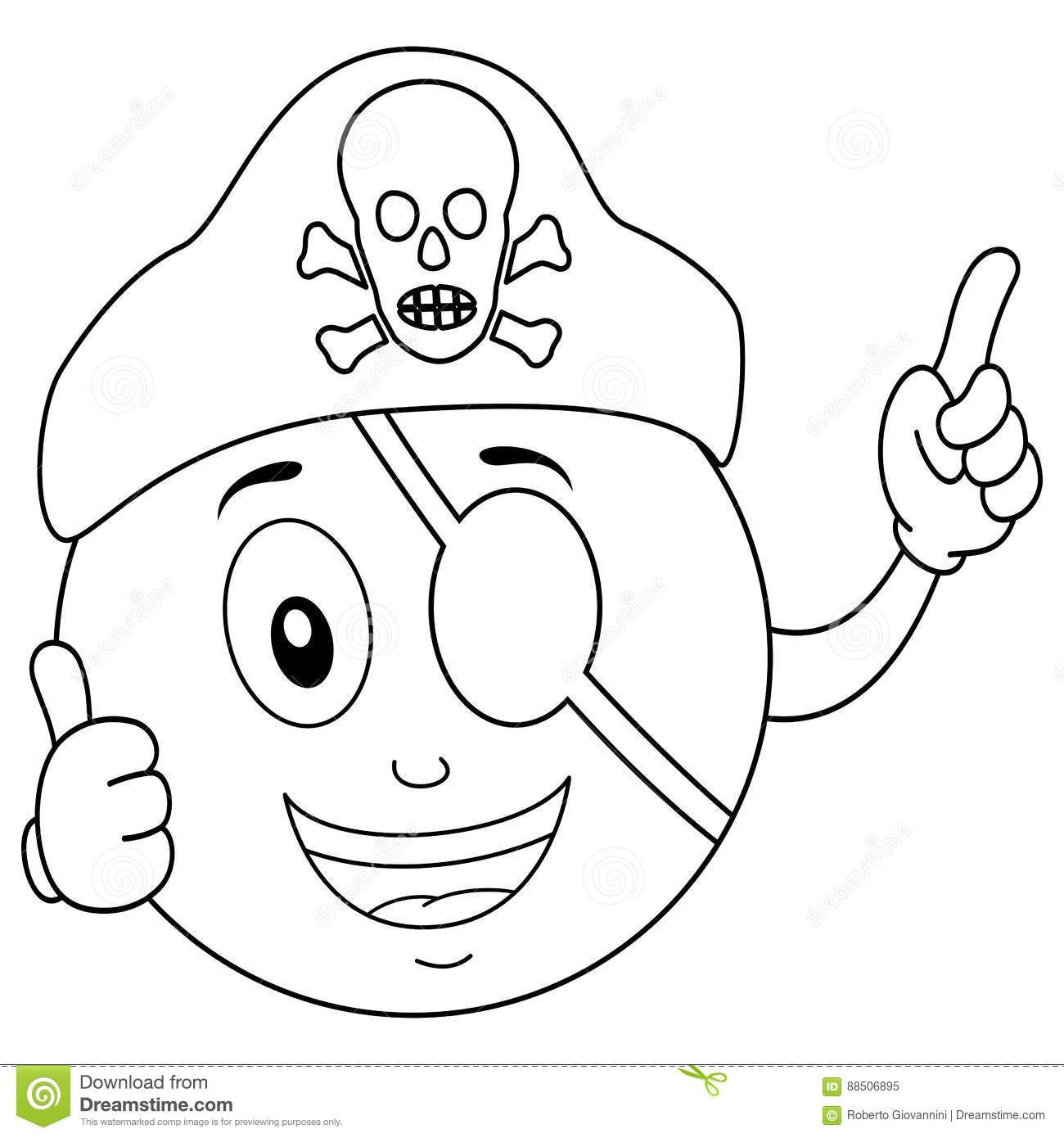 Coloring Pirate Smiley With Eye Patch & Hat Stock Vector