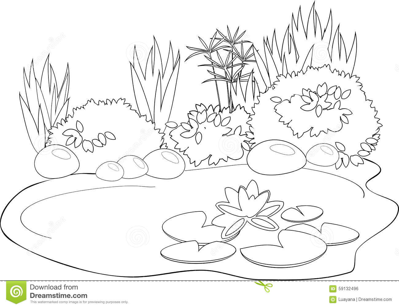 Coloring pond stock vector. Illustration of book, cute