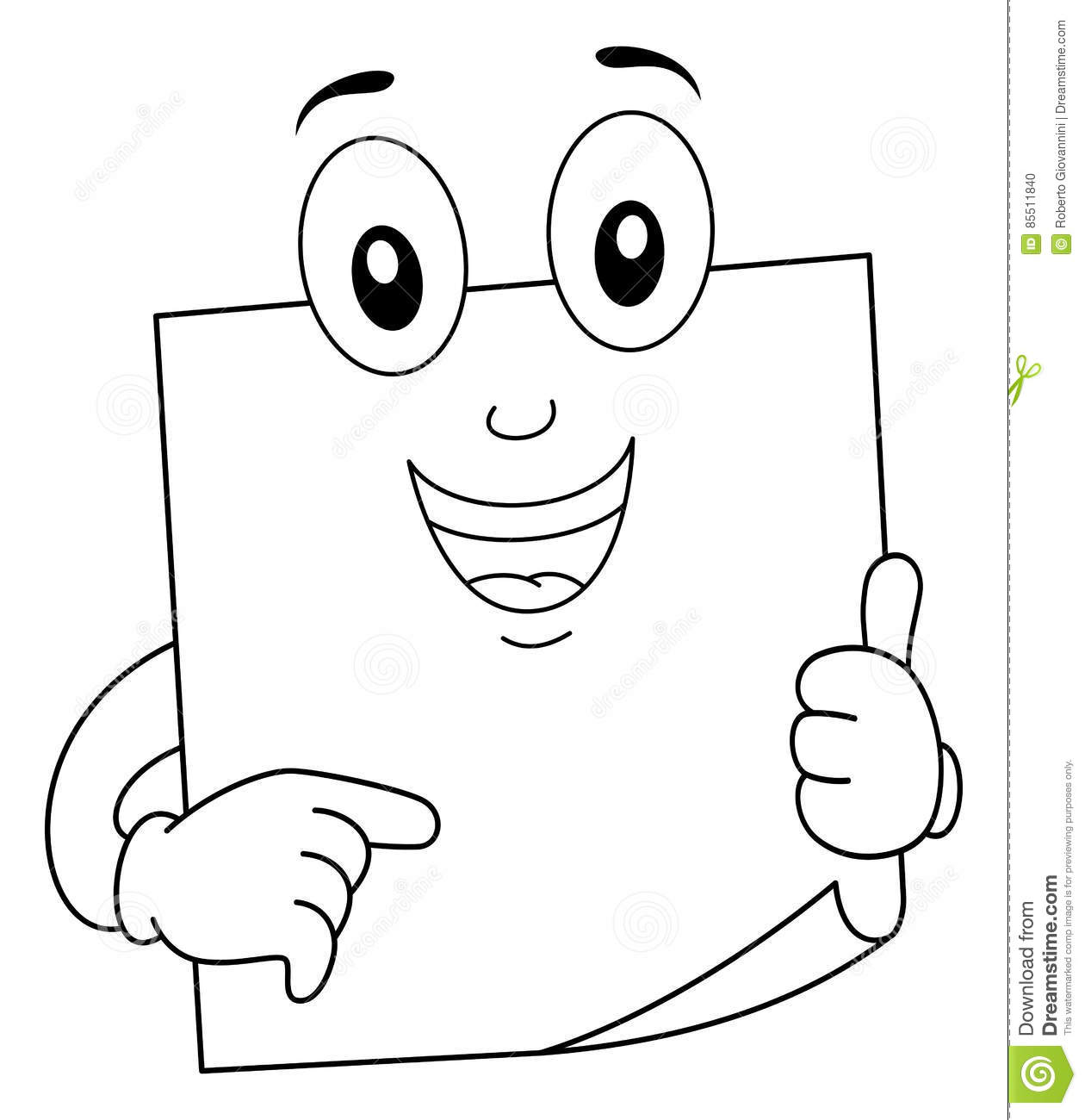 Coloring Post It Sticky Note Character Stock Vector