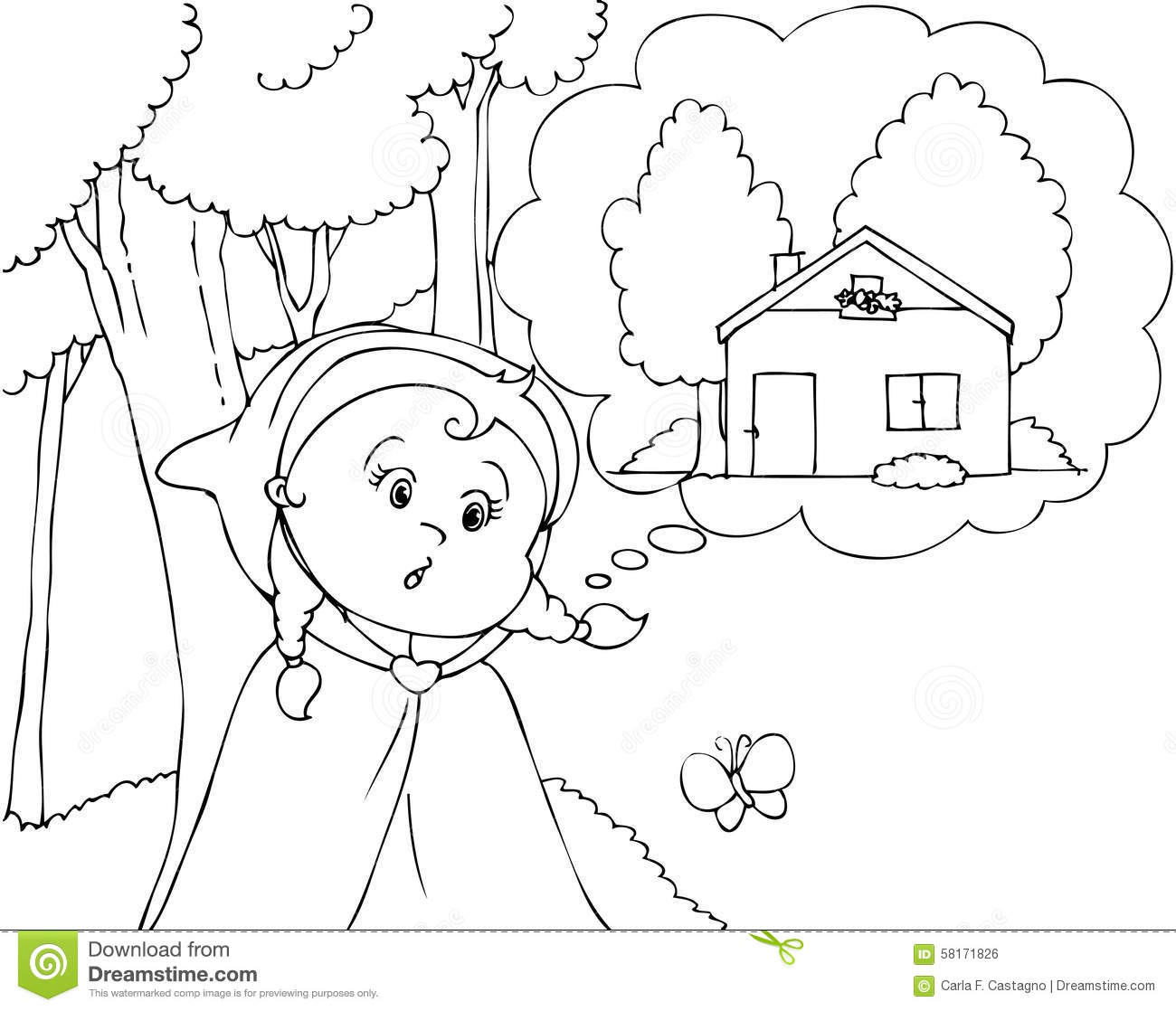 Coloring Red Riding Hood In The Wood Vector Stock Vector