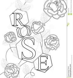 coloring roses with the inscription rose letters buds and leaves [ 1065 x 1300 Pixel ]