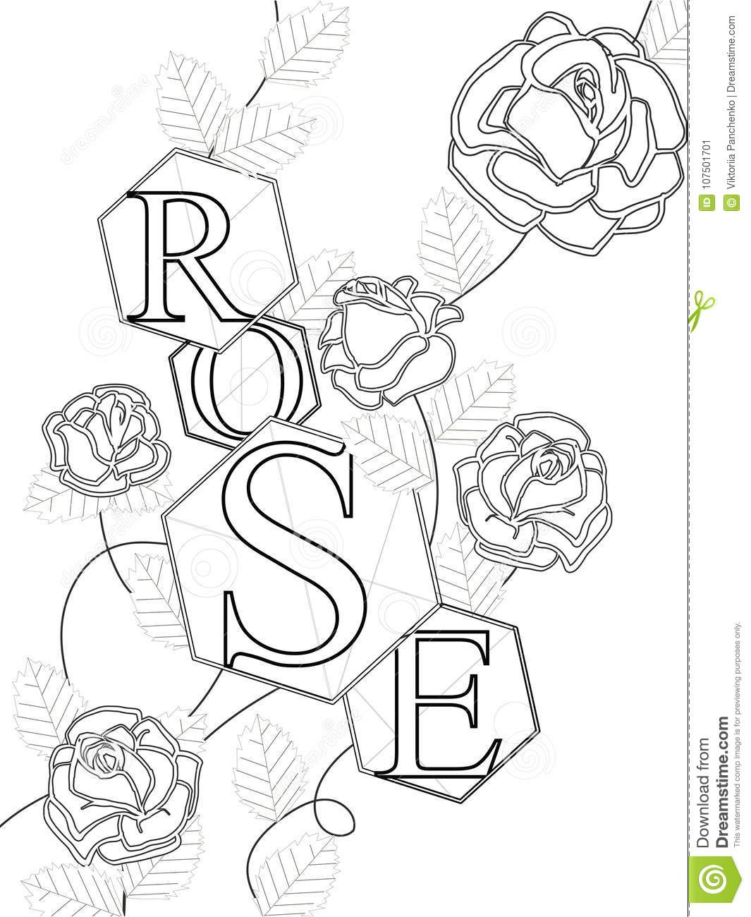 hight resolution of coloring roses with the inscription rose letters buds and leaves