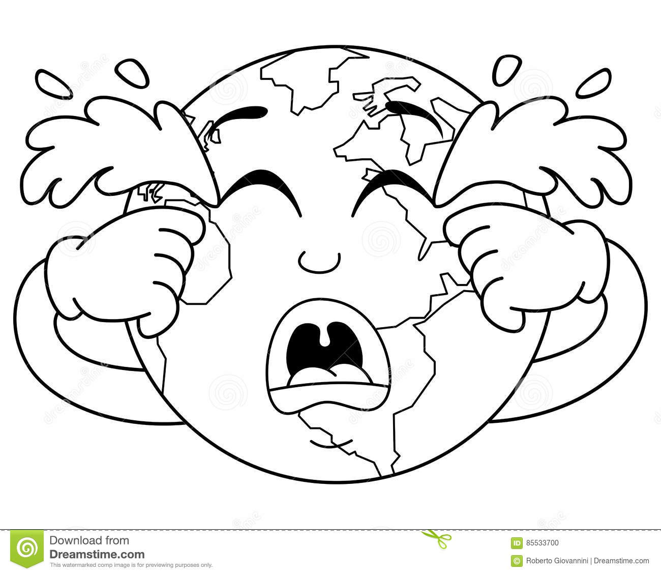 Coloring Sad Crying Planet Earth Character Stock Vector