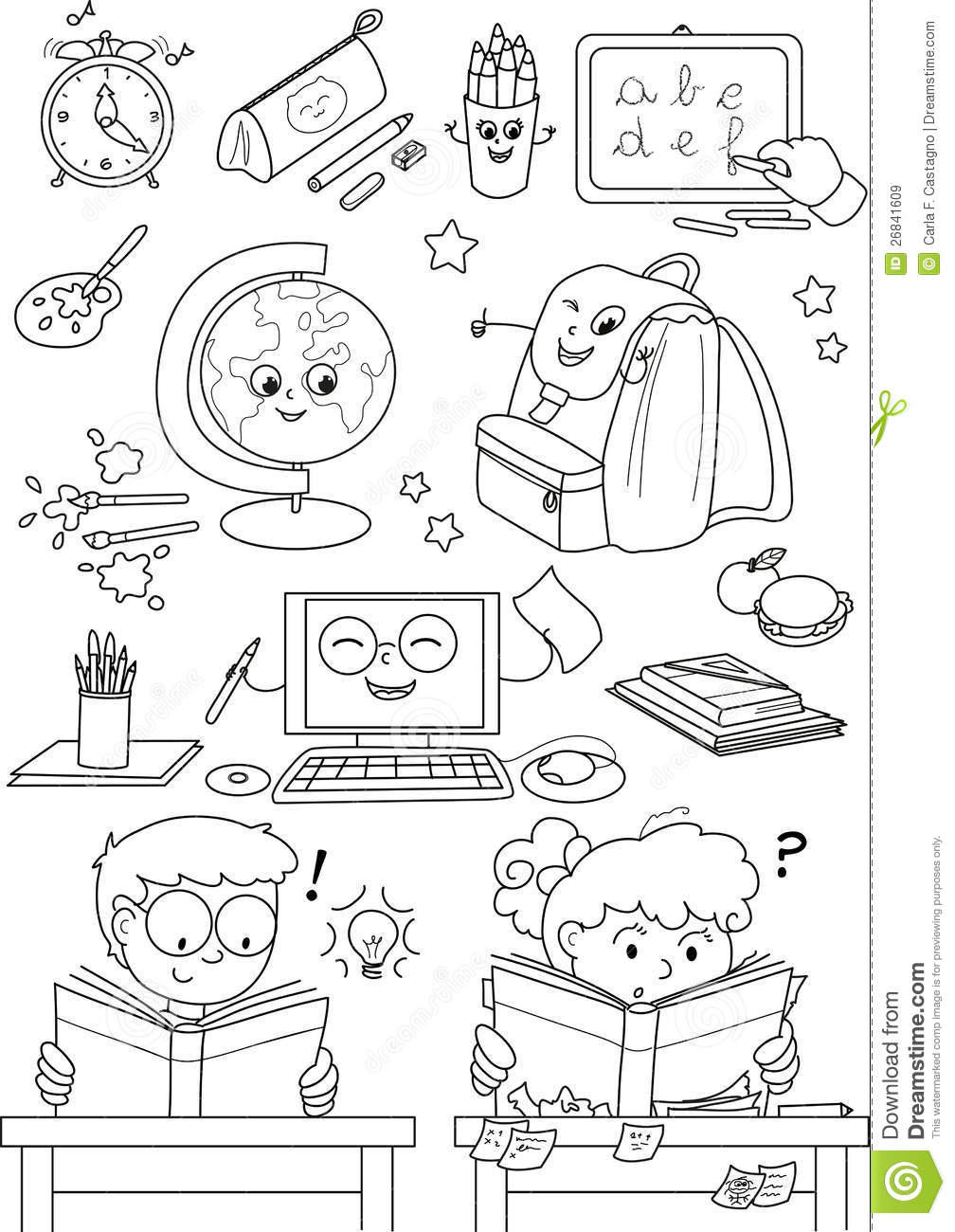 Coloring School Elements For Little Kids Stock Vector
