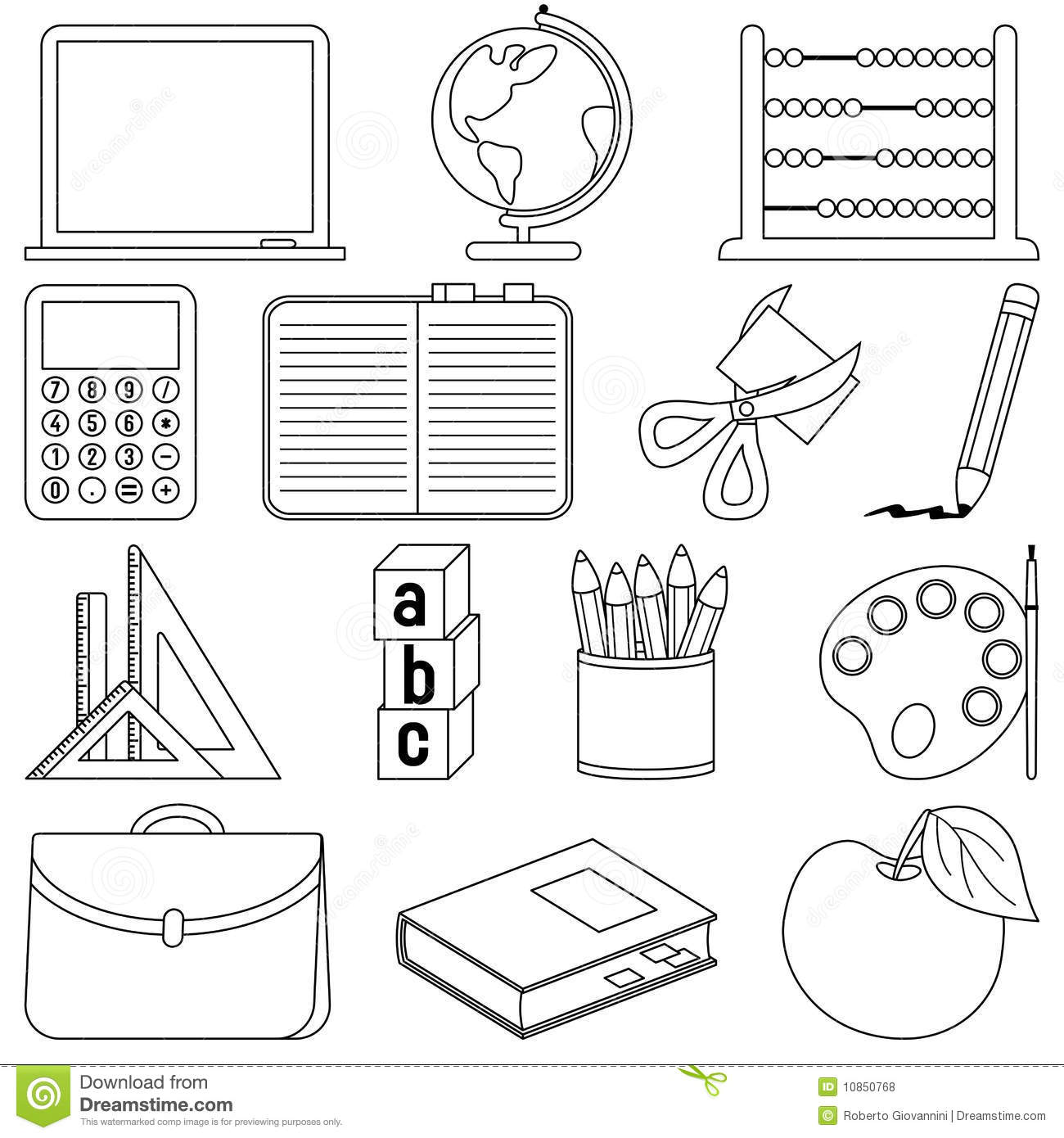 Coloring School Icons Stock Vector Illustration Of Contour
