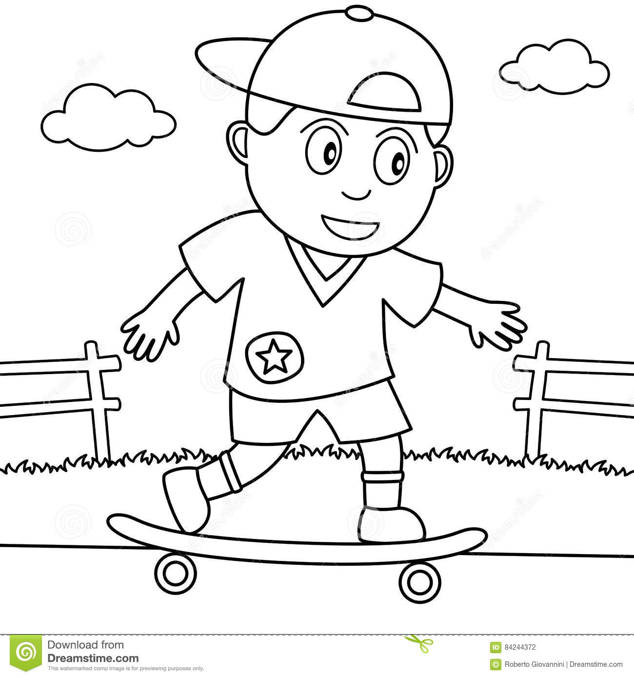 Coloring Skateboarder Playing In The Park Stock Vector