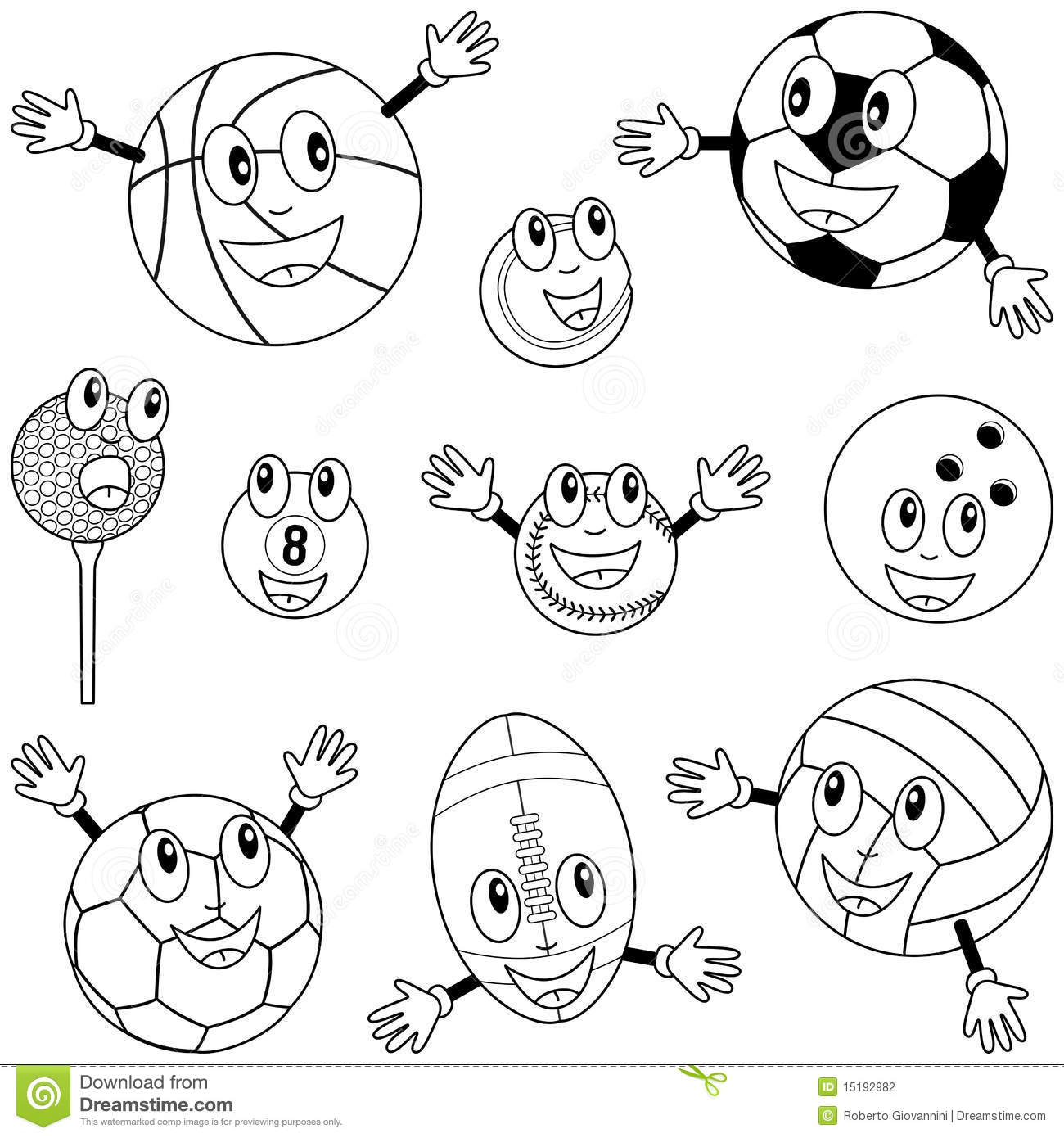 Coloring Sport Balls Characters Stock Vector