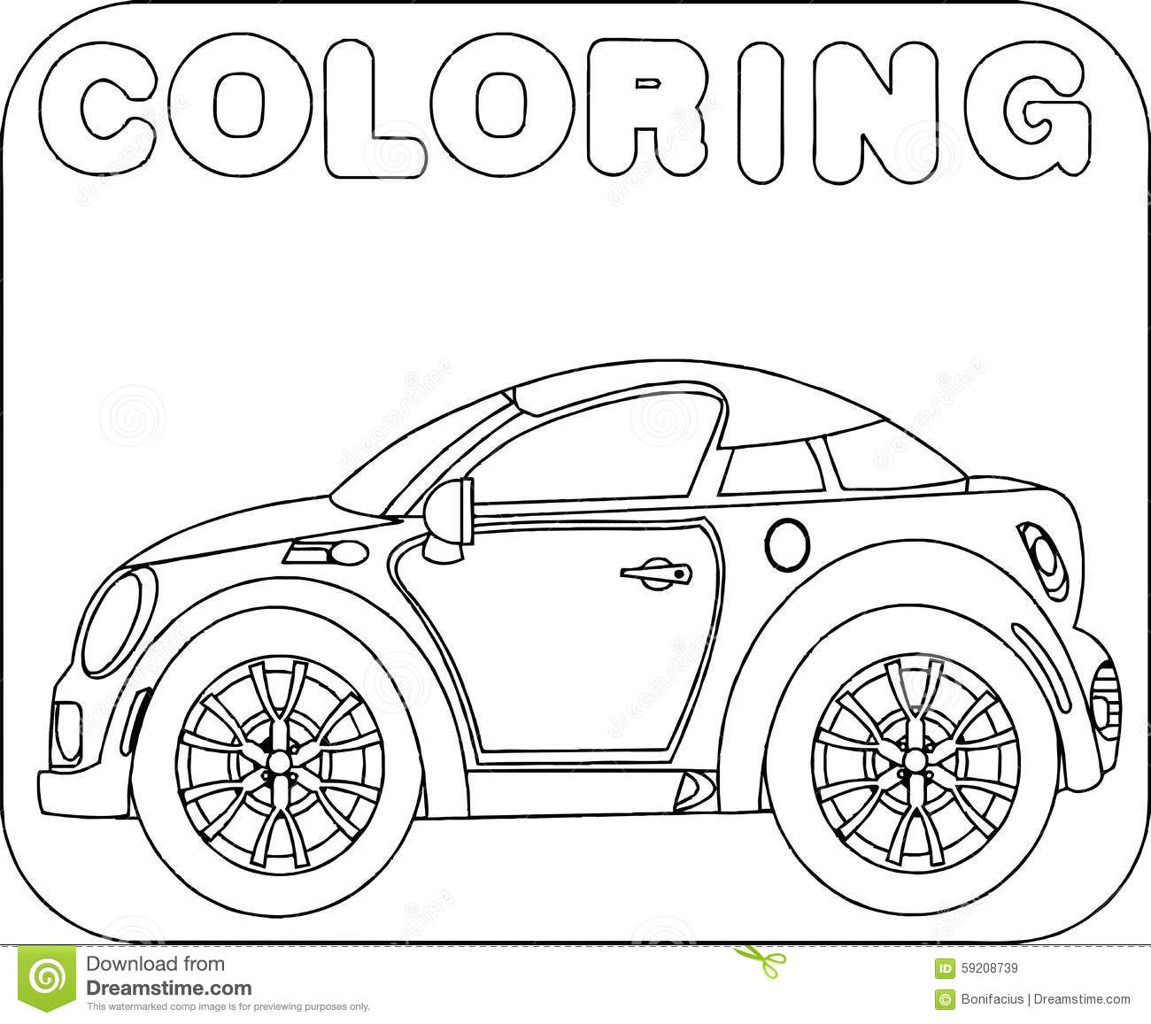Coloring Sport Car Cartoon Stock Vector