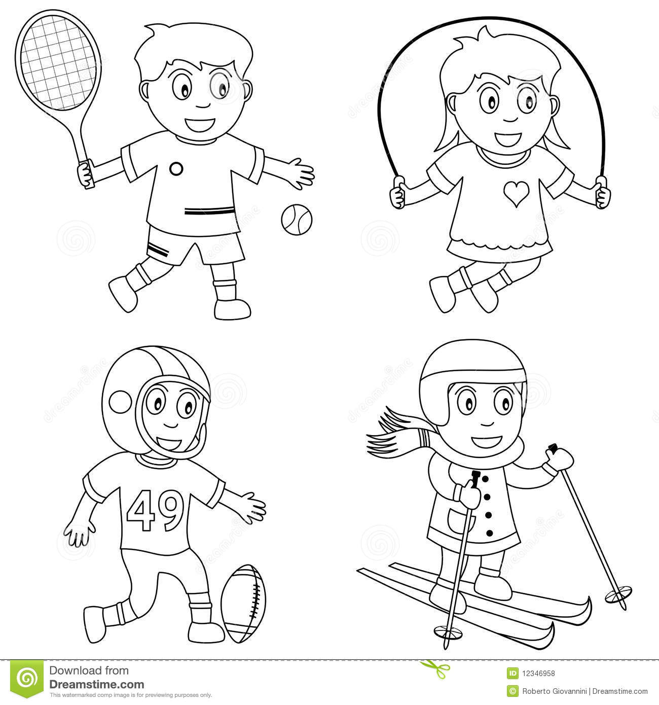 Coloring Sport Balls Characters Vector Illustration