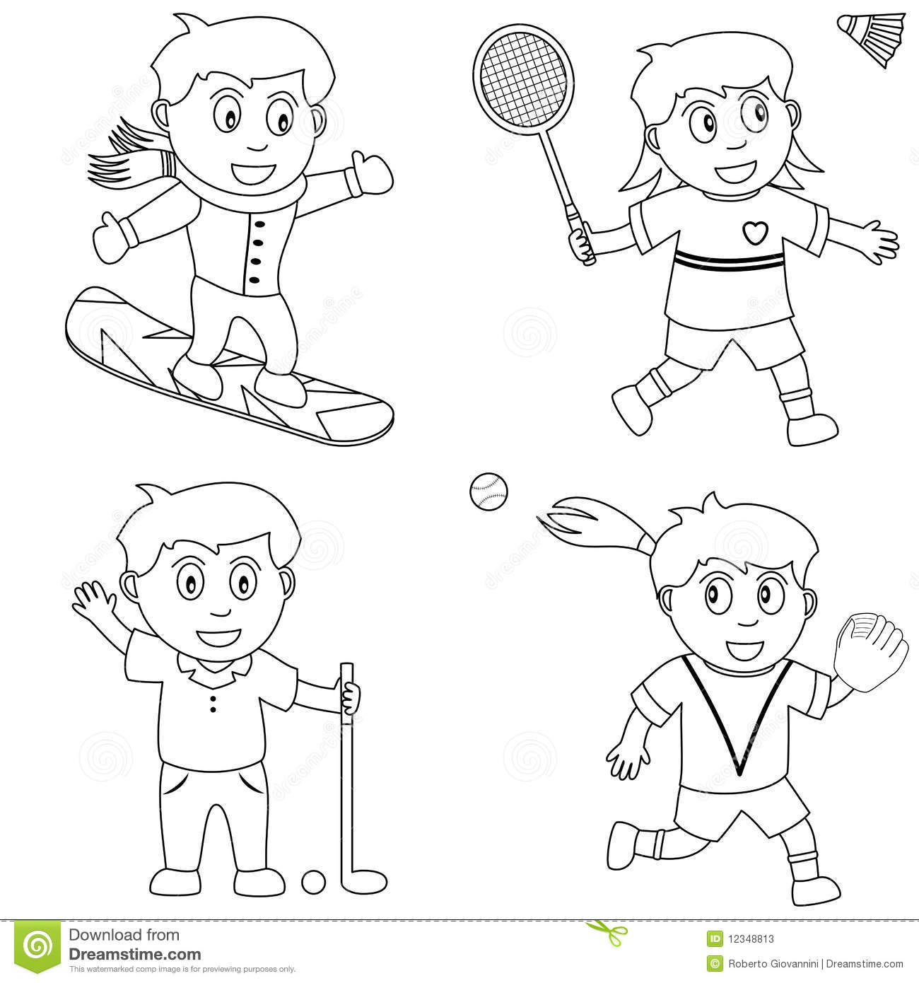 Coloring Sport For Kids 5 Stock Photos