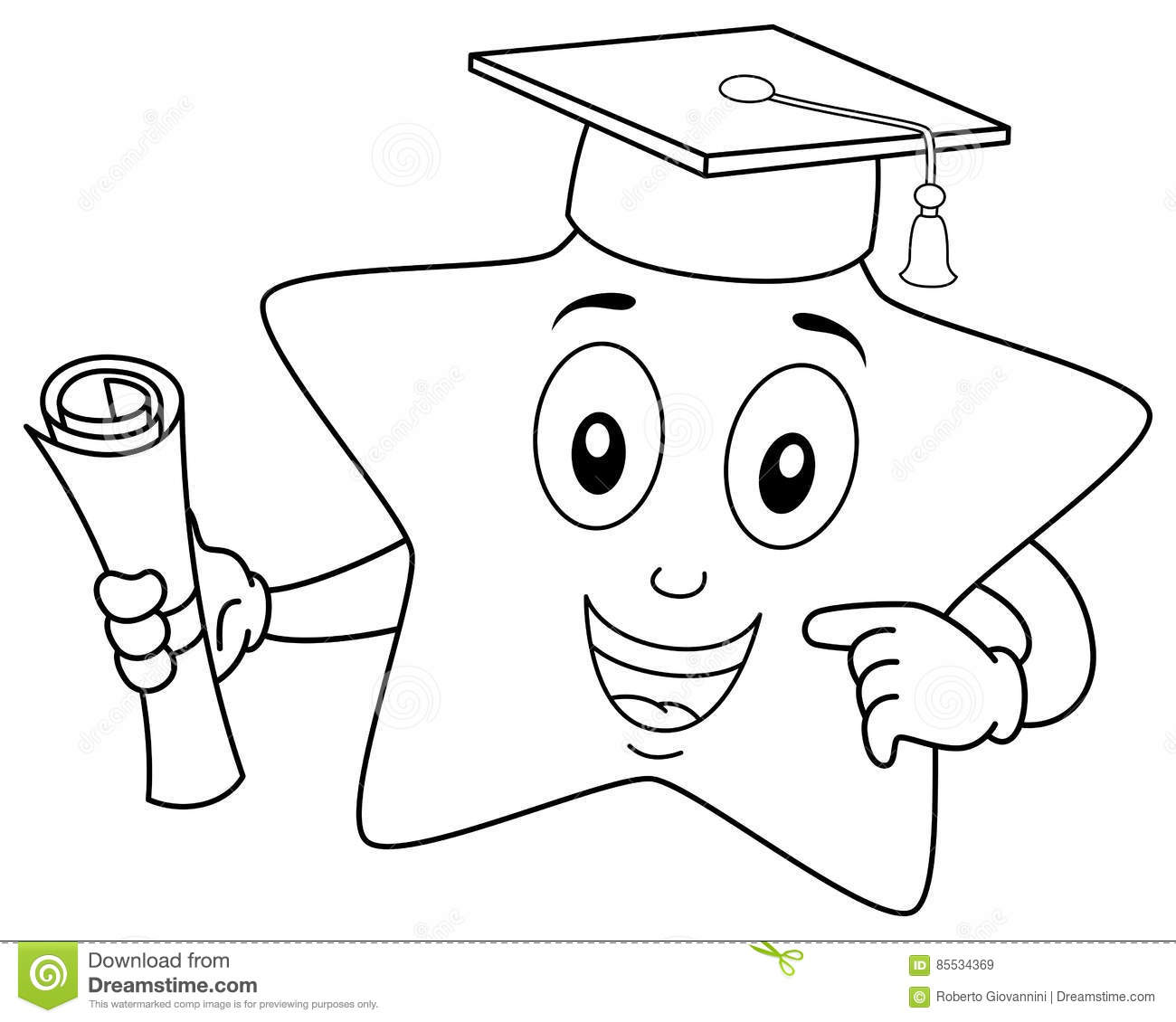 Coloring Star Character With Graduation Hat Stock Vector