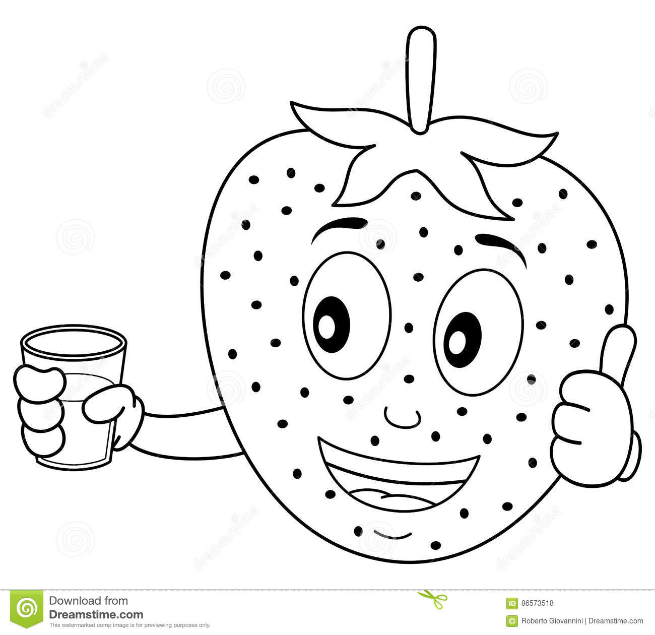 Coloring Strawberry With A Squeezed Juice Stock Vector