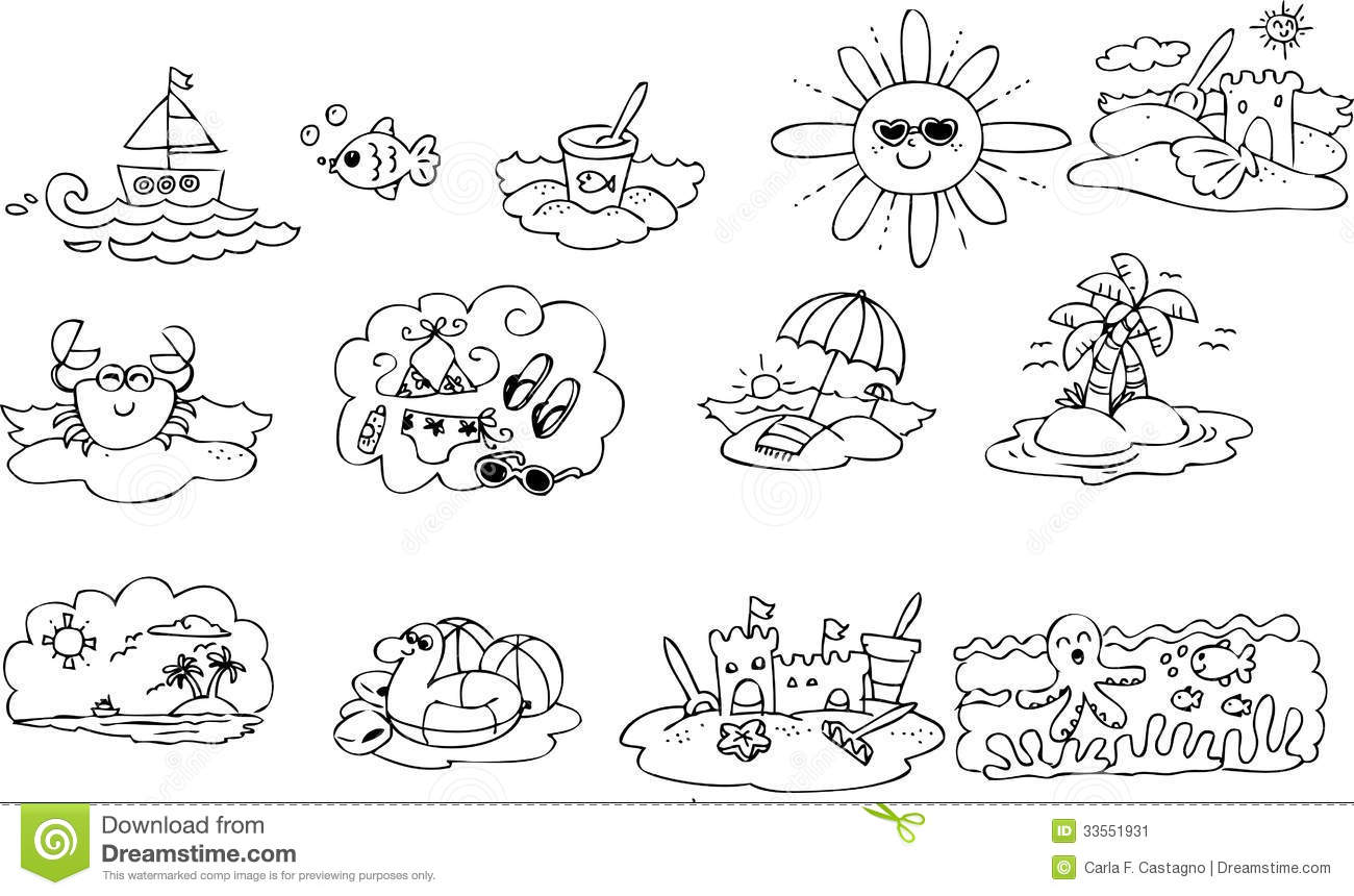 Coloring Summer Elements Stock Vector Illustration Of