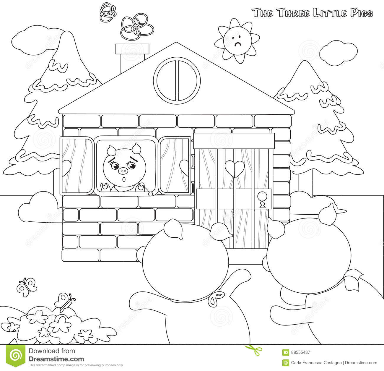 Coloring Three Little Pigs 9 Scared Piglets Stock Vector