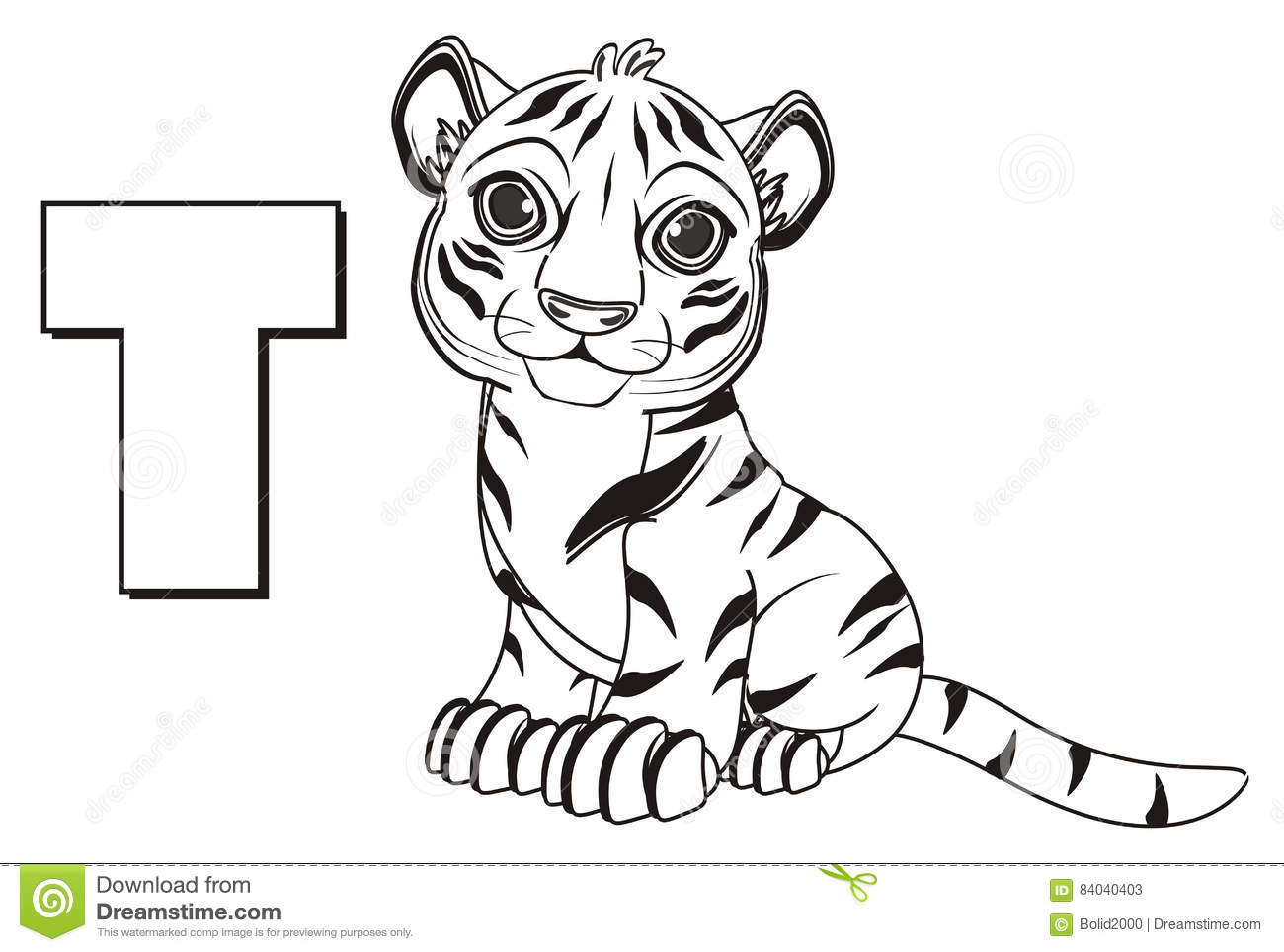 Coloring Tiger With Letter T Stock Illustration