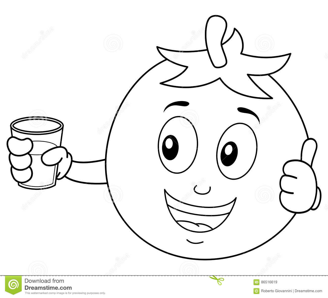 Coloring Tomato With Fresh Squeezed Juice Stock Vector