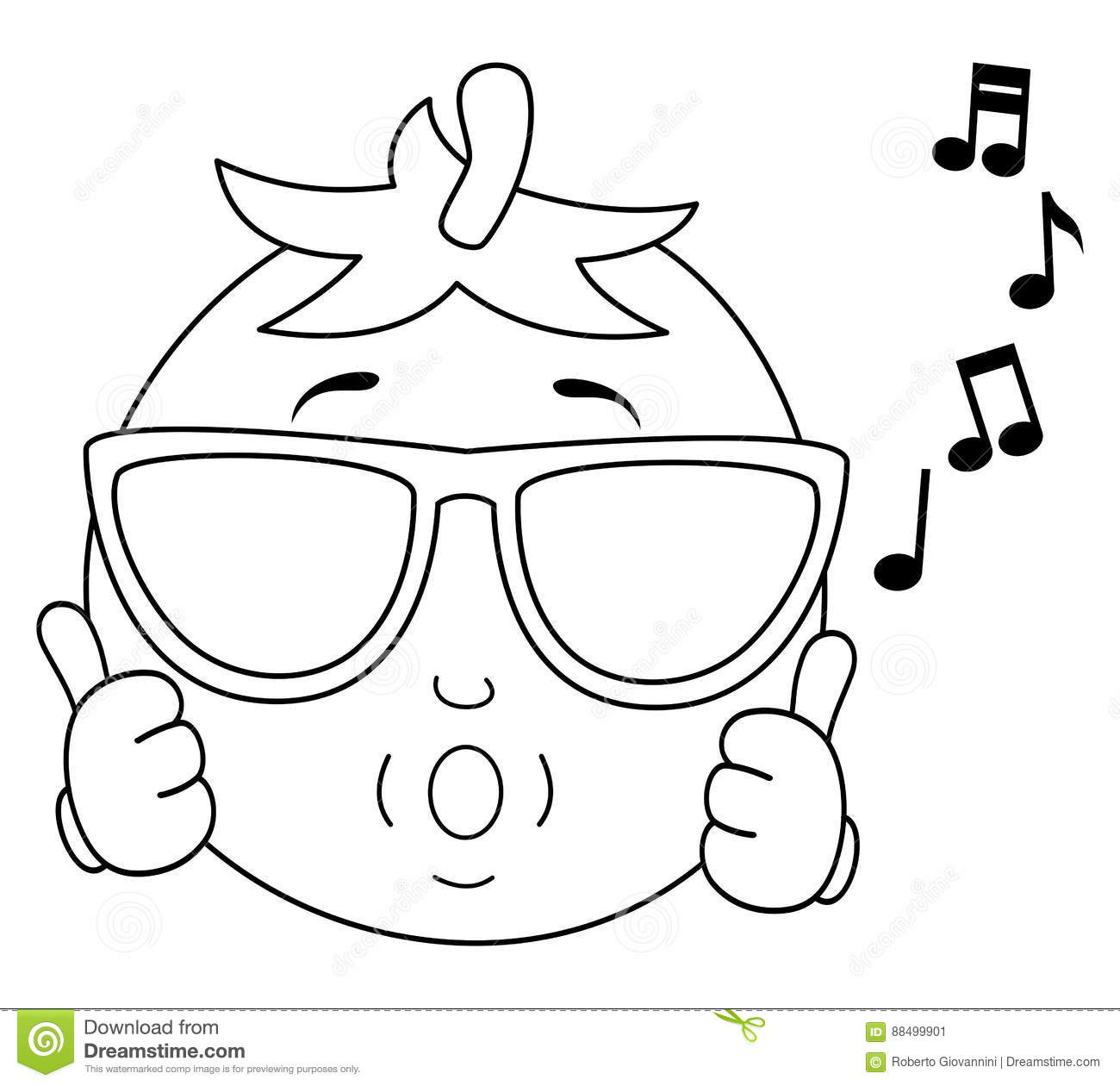 Coloring Tomato Whistling With Sunglasses Stock Vector