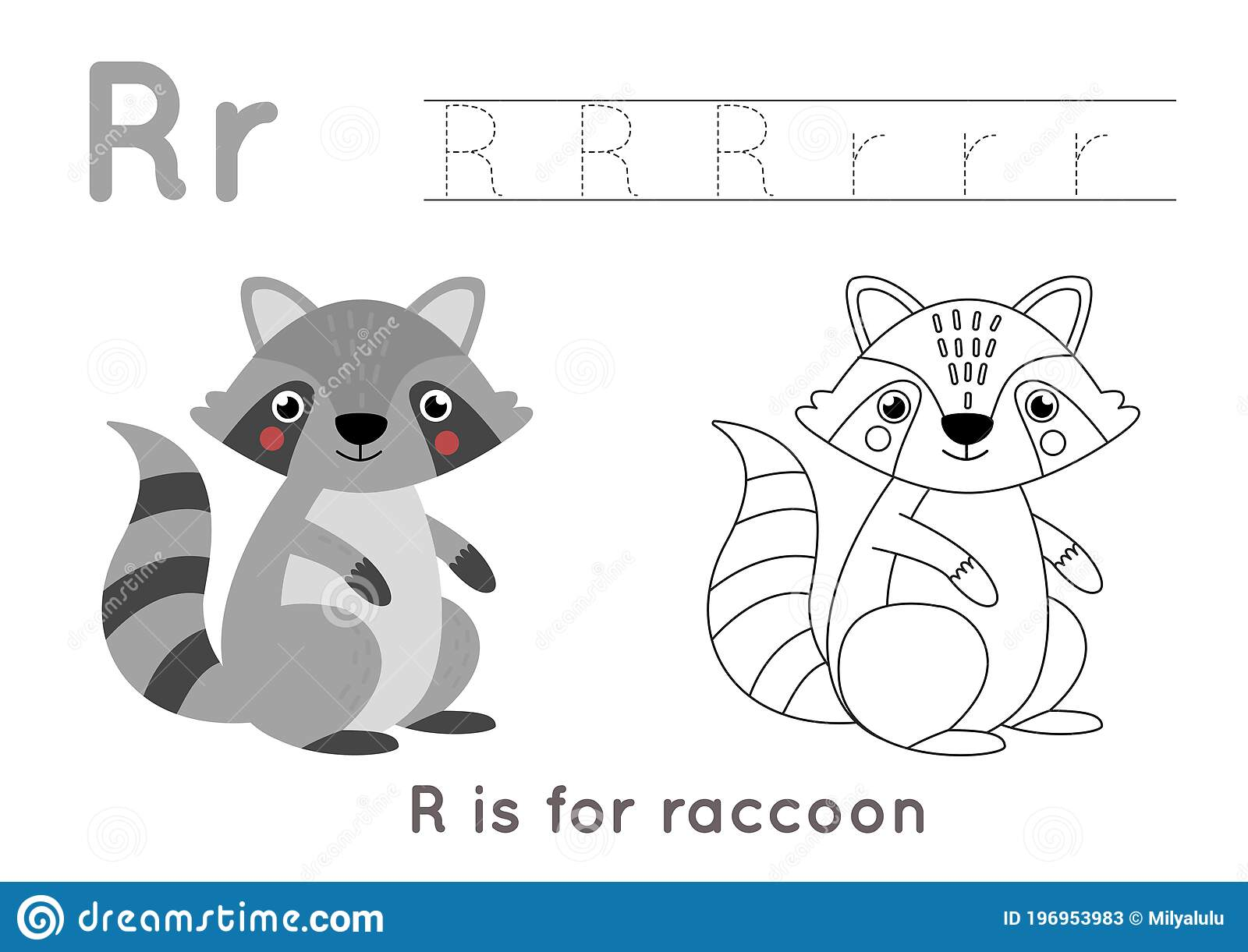 Coloring And Tracing Page With Letter R And Cute Cartoon