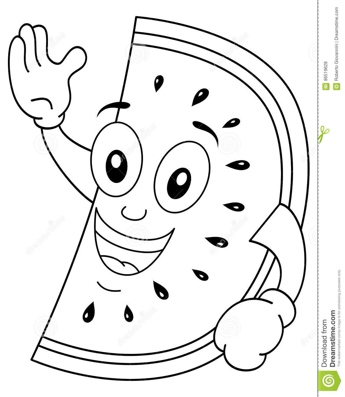 Coloring Watermelon Character Smiling Stock Vector