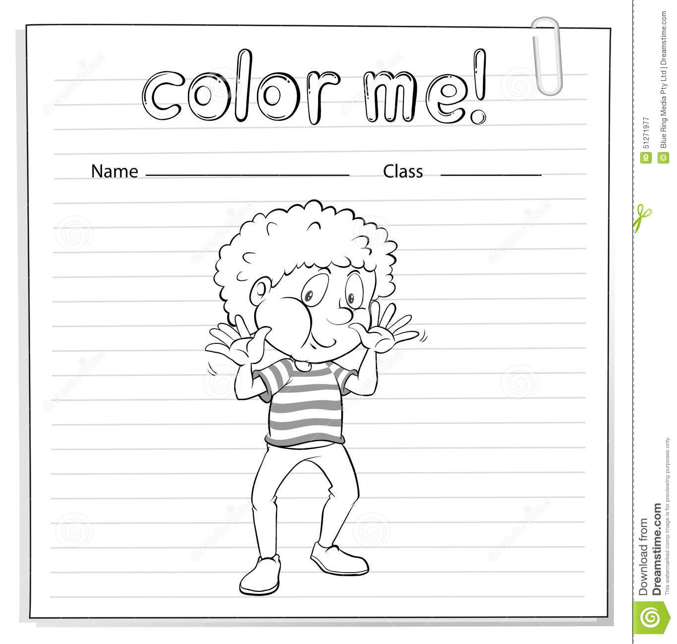 Coloring Worksheet With A Boy Stock Vector
