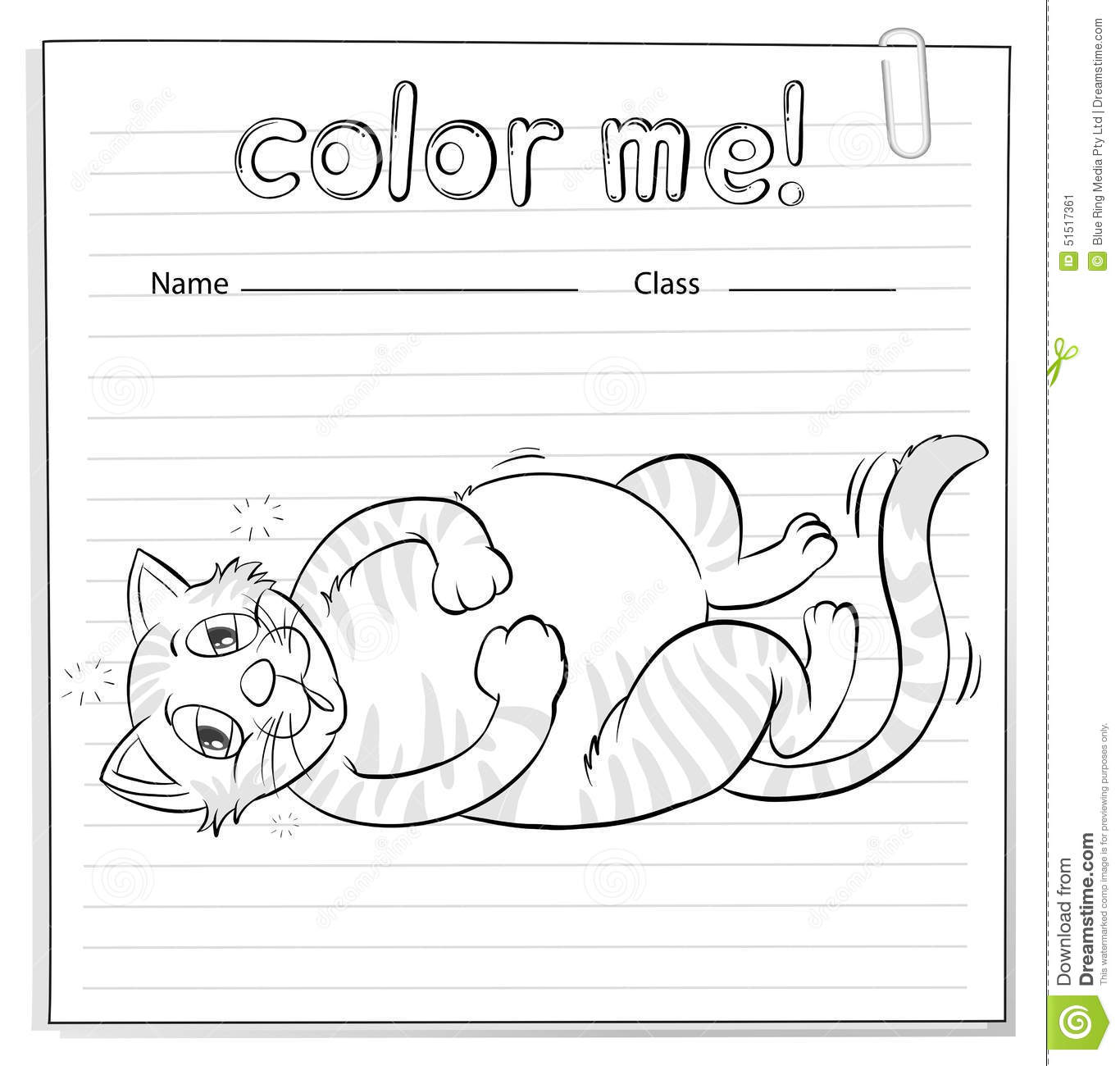 Coloring Worksheet With A Cat Stock Vector