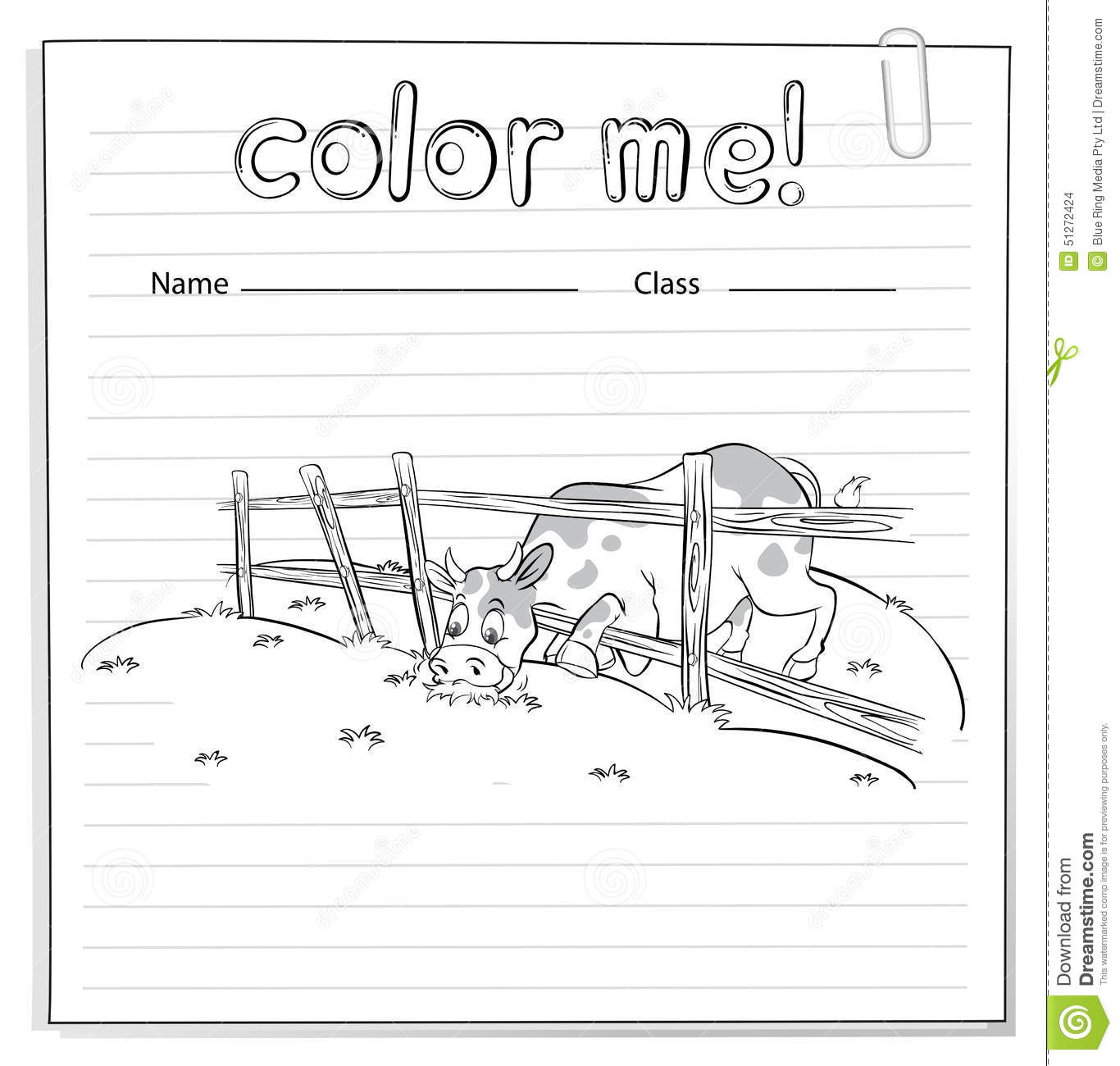 Coloring Worksheet With A Cow Stock Vector