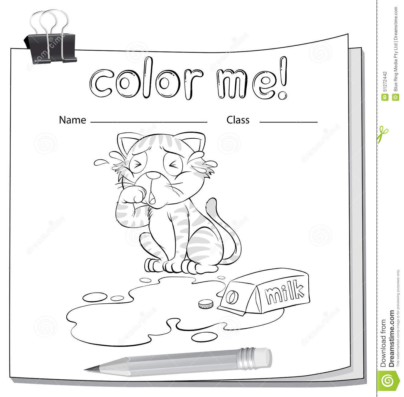 Coloring Worksheet With A Crying Cat Stock Vector