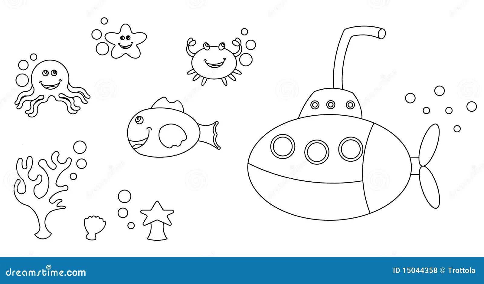 Colorir Dos Carateres Da Vida De Mar Ilustracao Stock
