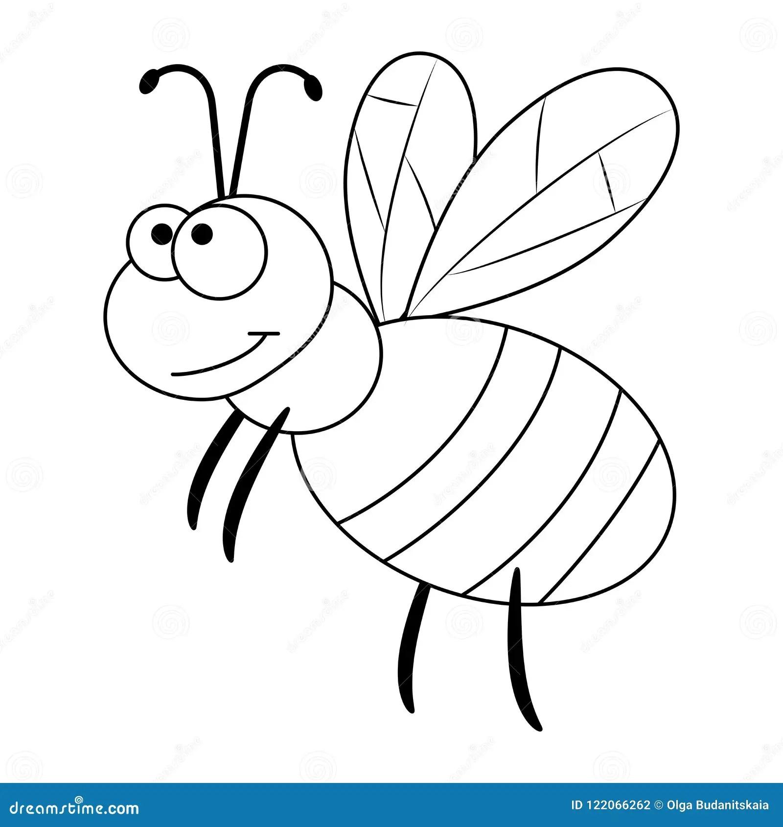 Colorless Funny Cartoon Bee Stock Vector