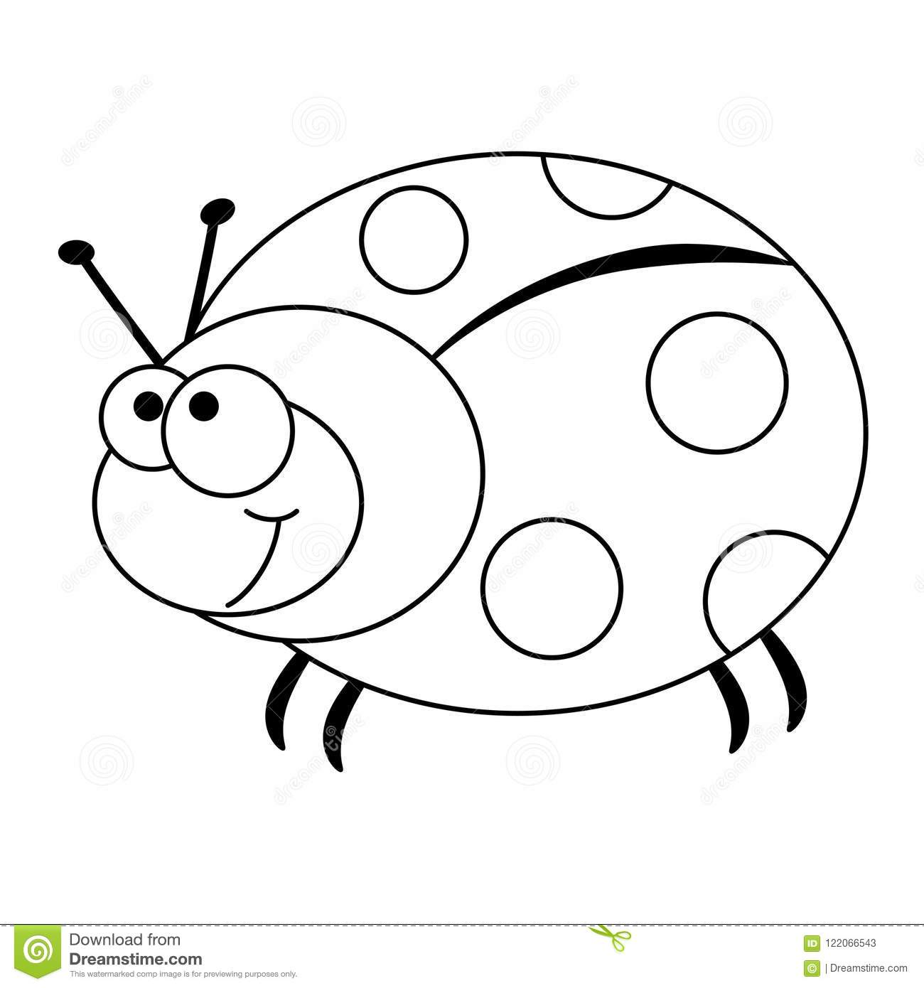 Colorless Funny Cartoon Ladybug Stock Vector