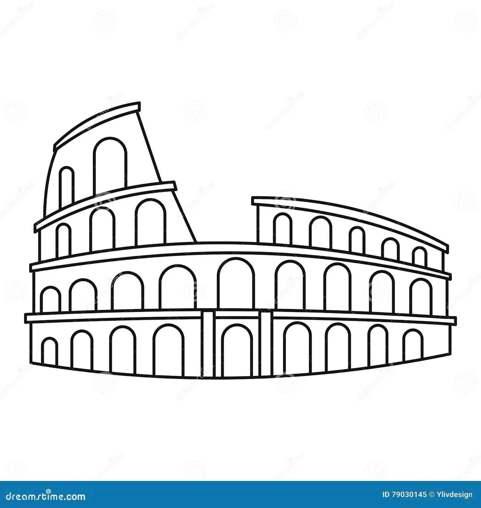 Colosseum In Het Pictogram Van Rome Overzichtsstijl
