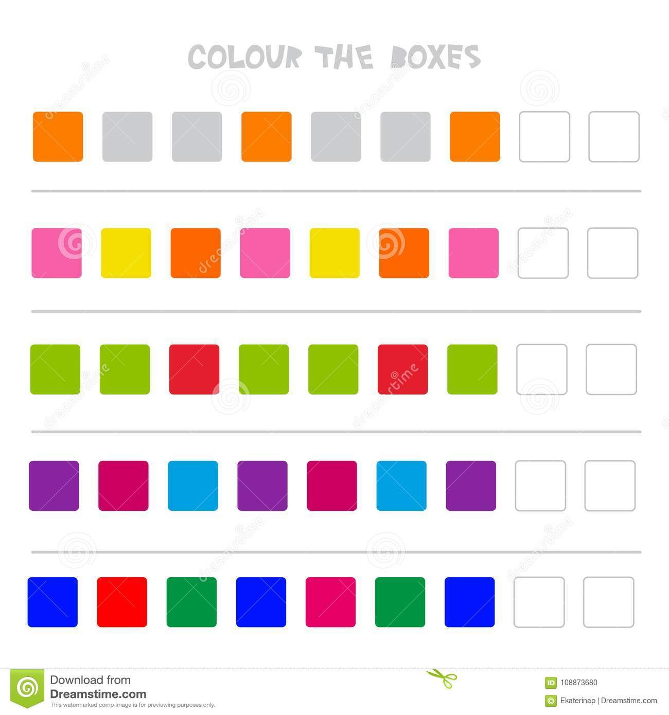 Colour The Boxes Educational Game What Comes Next Of