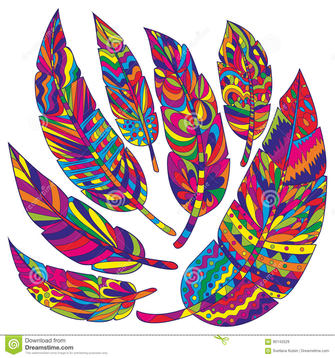 Colour Ethnic Feathers Tribal Feathers Vintage Pattern