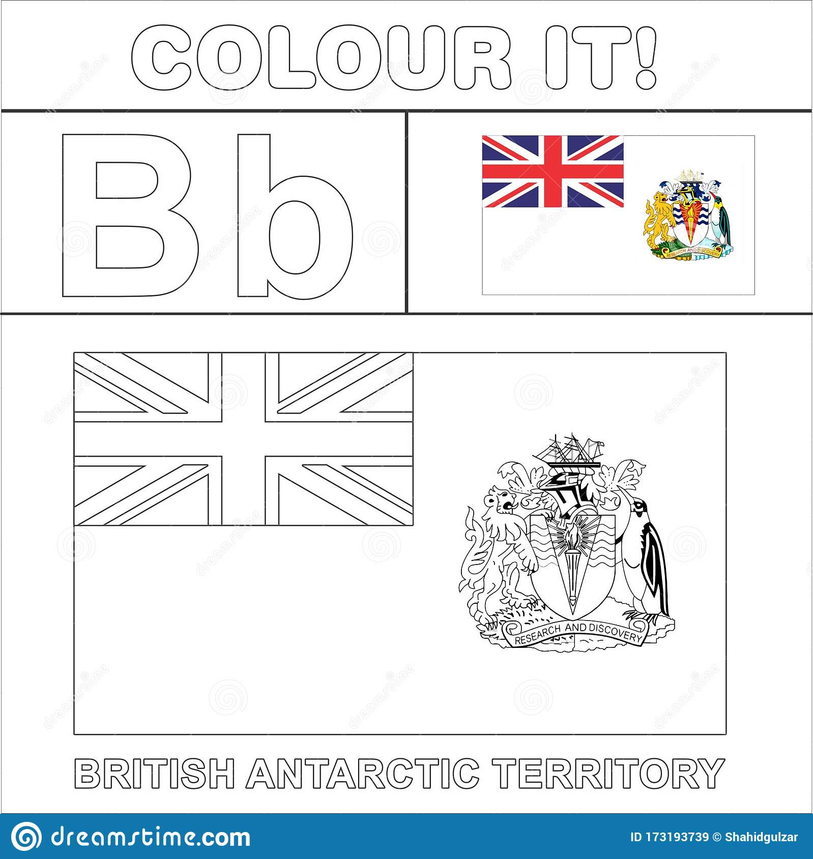 Colour It Kids Colouring Page Country Starting From English Letter B British Antarctic Territory How To Color Flag Stock Illustration Illustration Of Country Wallpaper 173193739
