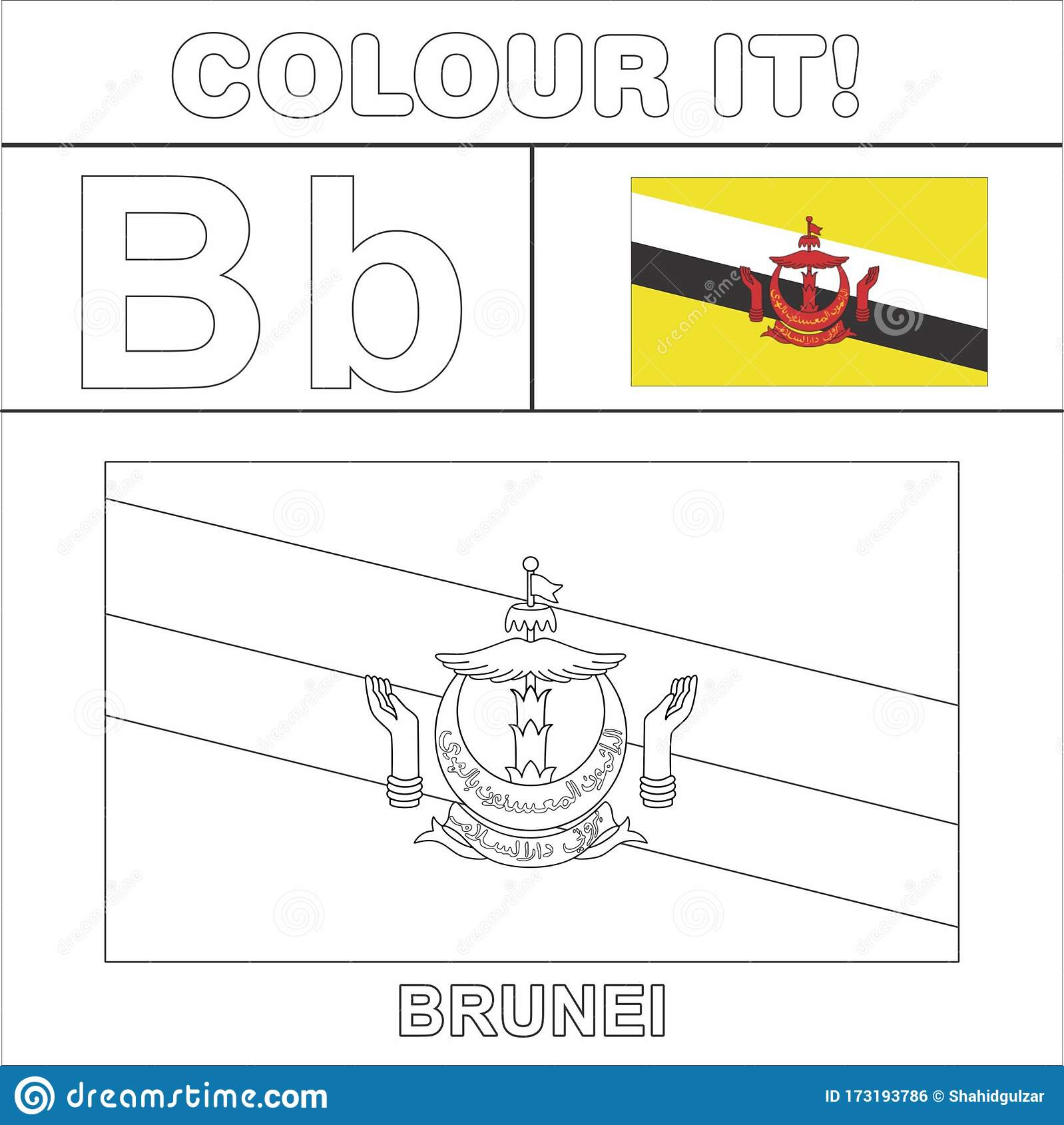 Colour It Kids Colouring Page Country Starting From English Letter B Brunei How To Color Flag Stock Illustration Illustration Of Line Colouring 173193786